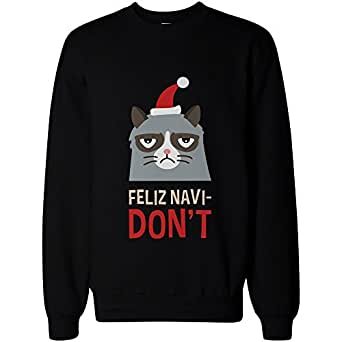 Funny Grumpy Cat Graphic Sweatshirt – Feliz Navi-Don't Funny Holiday Sweater