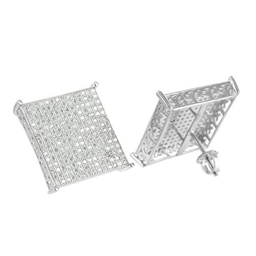 Mens Square Design Earrings 14K White Gold Finish Simulated Diamonds Unique by Master Of Bling
