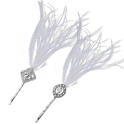 BABEYOND Vintage Hair Pins Clips for Women 1920s Crystal Rhinestone Hair Pins Great Gatsby Hair Piece (Silver with (Fabulous Feather Pin)
