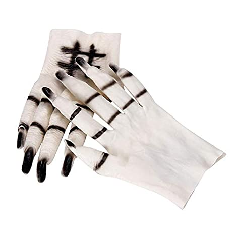 dhmart halloween ghost gloves scary cosplay halloween props costumes masquerade party supplies