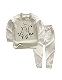 YANWANG 100% Organic Cotton Baby Boys Girls Pajamas Set Long Sleeve Sleepwear(3M-5T)