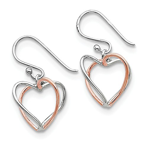 925 Sterling Silver Rose Vermeil Heart Drop Dangle Chandelier Earrings Love Fine Jewelry Gifts For Women For Her (Vermeil Hook Silver Earrings Pearl)