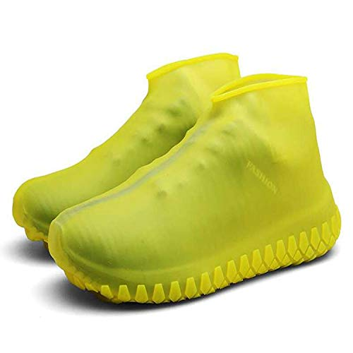 LESOVI Shoe Covers Silicone Waterproof - Men/Women Covers for Shoes - Waterproof Shoe Covers - Home/Carpet/reusable/Outdoor/Walking/Boot -Reusable Non Slip Grip -Durable (Yellow, M)