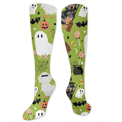 Yitlon8 Dachshund Halloween Compression Socks for Women & Men - Best for Running, Athletic Sports, Crossfit, Flight Travel -Maternity Pregnancy, Shin Splints - Below Knee High -