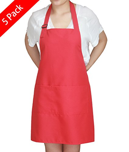 SEW UR LIFE ChristmasRed Professional Waterdrop Resistant Adjustable Plus Size Bib Apron 3 Pockets(5 SET) Home Kitchen Garden Restaurant Cafe Bar Pub Bakery for Cooking Chef Baker Servers Craft Unisex