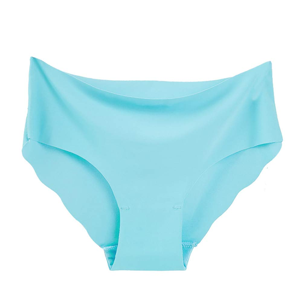Qiujold Sexy Underwear for Women, Seamless Ice Silk Breathable Middle Waist Panties (XL, Blue)