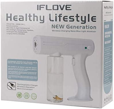 IFLOVE Steam Gun Disinfectant Mist Gun Handheld Rechargeable Nano Atomizer Electric Sprayer Nozzle 27oz Large Capacity Adjustable ULV Fogger for Home, Office, School, Hotel or Garden