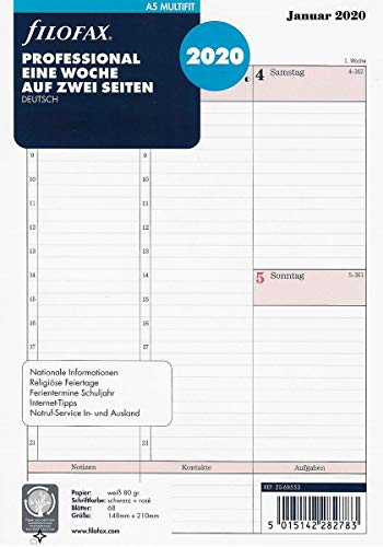 Filofax 2020 A5 Professional Calendar Insert Week on 2 Pages