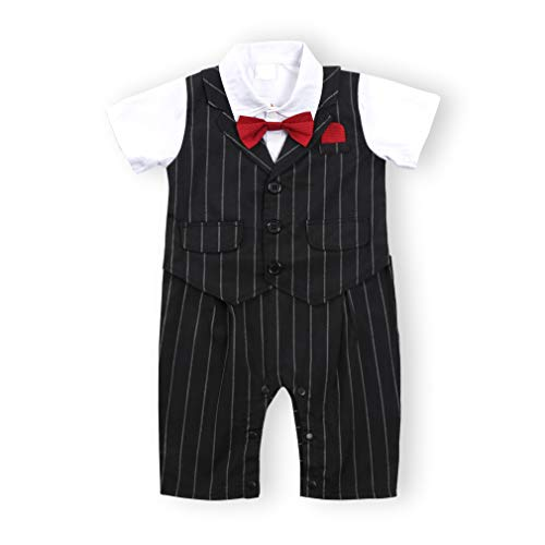 TNYKER Baby Boy Suit, Baby Boy Tuxedo,Toddler Short Sleeve Rompers Infant Outfit with Bow Tie