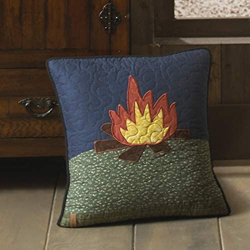 Donna Sharp Throw Pillow – Bear Dance Lodge Decorative Throw Pillow with Campfire Pattern – Square