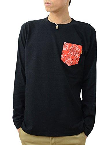 サージ知覚できる鼻(ジーンズバグ) JEANSBUG 長袖 バンダナ ポケット Tシャツ オリジナル 本革 タブ ポケT 無地 ロンT メンズ レディース 大きいサイズ PKLT-BANDA
