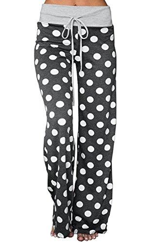 NEWCOSPLAY Women's Comfy Stretch Floral Print High Waist Drawstring Palazzo Wide Leg Pants (XXL, Dark Grey dots) (Dress Pants Baggy)