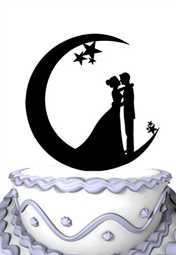 (Meijiafei Wedding Cake Topper - Bride and Groom Vow In the Moon for Engagement Party Decoration)