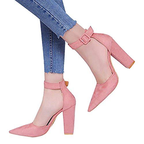 Donna Pink A Beach Minetom Blocco Sandals Tacco Punta Casuale Scarpe Shoes Sandali Eleganti A Partito Estate Moda Testa Sdwdq8C