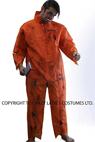 Halloween-Creepy-Scary-Convict-Zombie (3) ORANGE PRISONER BOILER SUIT, MOUTH, MAKEUP, BLOOD & WEAPON - One Size Only.