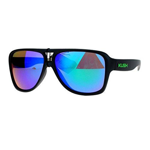 SA106 Kush Mens Thick Plastic Aviator Color Mirror Lens Sport Sunglasses - Sunglasses Aviator Thick