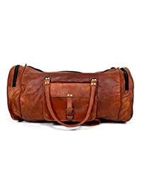 Crafat Leather 22 Inch Duffel Travel Gym overnight Weekend Shoulder Leather Luggage Bag Vintage