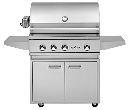 Delta Heat 32 Inch Natural Gas Grill On Cabinet with Infrared Rotisserie and Sear Zone Twin Eagles