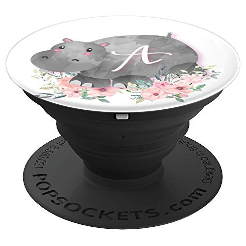 - Cute Hippo Pink Flowers Monogram Name Initial Letter A - PopSockets Grip and Stand for Phones and Tablets