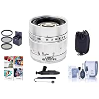 Mitakon Zhongyi Speedmaster 35mm f/0.95 Mark II Lens for Fuji x Mirrorless Cameras Silver - Bundle With 55mm Fliter Kit, Lens Pouch, Cleaning Kit, Capleash, Lens Pen Lens Cleaner, PC Software Package