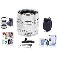 Mitakon Zhongyi Speedmaster 35mm f/0.95 Mark II Lens for Sony E Mirrorless Cameras Silver - Bundle With 55mm Fliter Kit, Lens Pouch, Cleaning Kit, Capleash, Lens Pen Lens Cleaner, PC Software Package