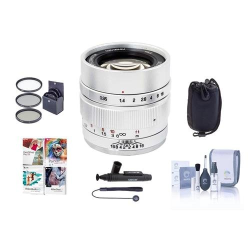 Bndl Camera - Mitakon Zhongyi Speedmaster 35mm f/0.95 Mark II Lens for Canon EOS-M Mirrorless Cameras Silver - Bndl W/ 55mm Fliter Kit, Lens Pouch, Cleaning Kit, Capleash, Lens Pen Lens Cleaner, PC Software Package