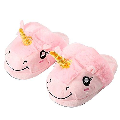 Yuwell Volwassen Pluche Eenhoorn Slippers Winter Warm Indoor Huis Slippers Homewear Voeten Kostuum Roze Slippers