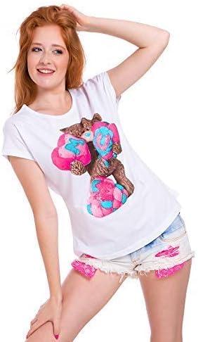 UK Ladies Short Sleeves Womens New T-Shirt Teddy Bear Top Loose Fit Blouse FB313