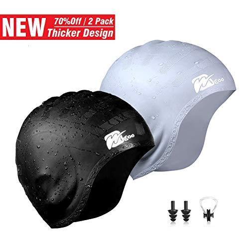 Wigoo Long Hair Swim Cap 2 Pack, 2019 Thicker Design, Waterproof Silicone Swimming Cap for Adult Woman and Men(Black+Grey)