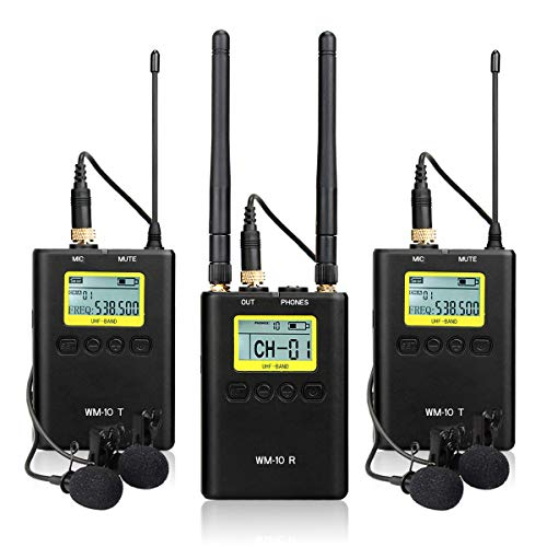 Retekess WM10 UHF Dual Channel Wireless Lavalier Microphone System 50Channel Digital with 2 Bodypack Transmitters and 1 Portable Receiver for Interviewing DSLR Camera Camcorders Interviews