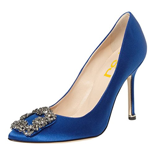 4 Blue Party Stiletto Jeweled Women Shoes On US 15 Heels Slip Pumps High Satin Evening Size Toe Pointy FSJ ZS7wpq7U