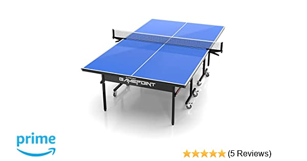 Amazon Com Gamepoint Tables Indoor Ping Pong Table Includes Tension Adjustable Clamp Style Net Foldable Locking Caster Wheels V V Playback Mode