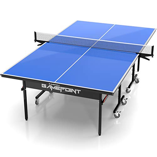 GamePoint Tables Indoor Ping Pong Table – Includes Tension Adjustable Clamp Style Net, Foldable Locking Caster Wheels, 1v1, 2v2, Playback Mode