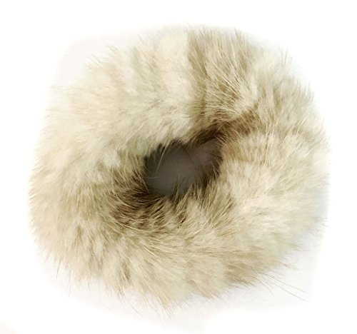Mink Pom Ponytail Holder - Gentle Damage Free Hair Tie - Hair Beauty Accessories - Mink Fur Womans Girls Hair Care Gift (Ivory)