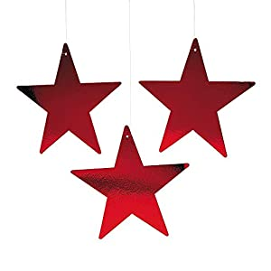 "Fun Express - 12"" Red Cardboard Star Decoration (12pc) for Party - Party Decor - Wall Decor - Cutouts - Party - 12 Pieces"