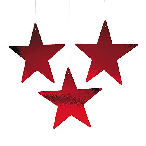 "Red Star 12"" Cutout - 1 Dozen Red Foil Cardboard Star Cutouts"