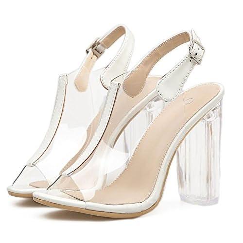 Zapatos De Transparente Gaihu Sandalias Mujer Sexy Damas Pvc 0NOv8nmw