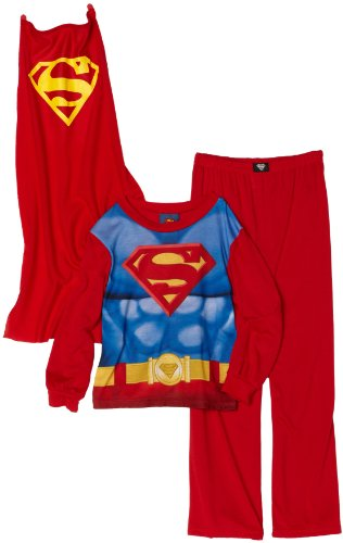 AME Sleepwear Little Boys' Superman 3 Piece Set, Red, 3T