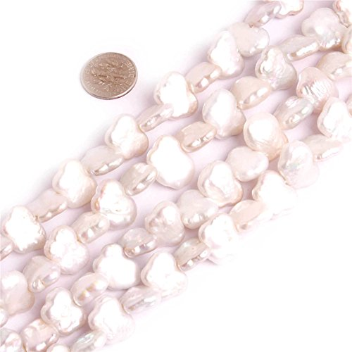 - 11X15MM White Butterfly Animal Biwa Freshwater Cultured Pearl Strand Beads for Jewelry Making 14.5''