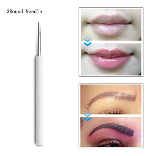Tattoo Needles 50pcs 3R Professional Permanent Makeup Round Needles for Manual Eyebrow or Lip Tattoo from boermeize
