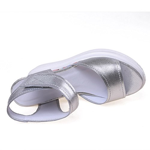 AgooLar Mujeres Velcro Puntera Abierta Plataforma Sólido Sandalia Plateado
