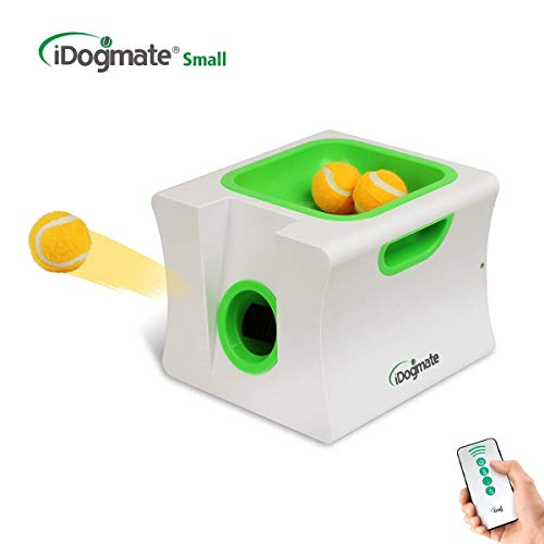 IDOGMATE Small Dog Ball Launcher,Automatic Dog Ball Thrower for Mini Dog (Small Machine with 3 Balls)