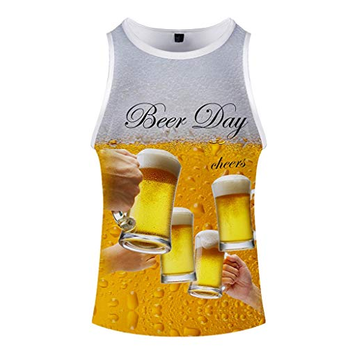 Price comparison product image Men's Summer Beer Festival 3D Printed O-Neck Short Sleeveless Vest Top Yellow