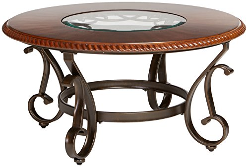 Round Traditional Coffee Table - Ashley Furniture Signature Design - Gambrey Traditional Round Cocktail Table with Glass Inlay - Reddish Brown