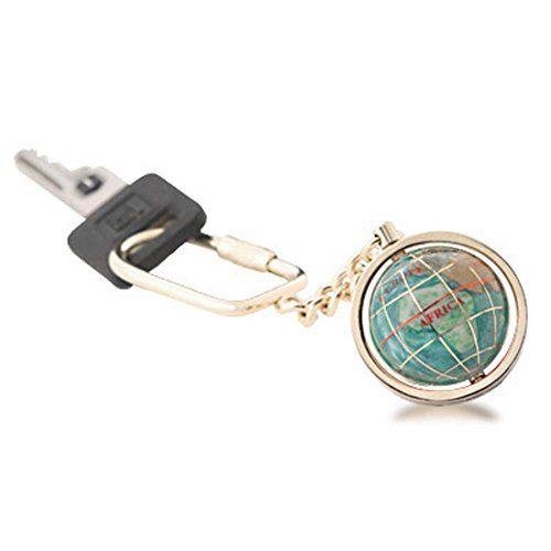 Gemstone Globe with Opalite Ocean Showcased on a Keychain Color: Bahama Blue, Finish: Light Gold Blue Opalite Gemstone Globe