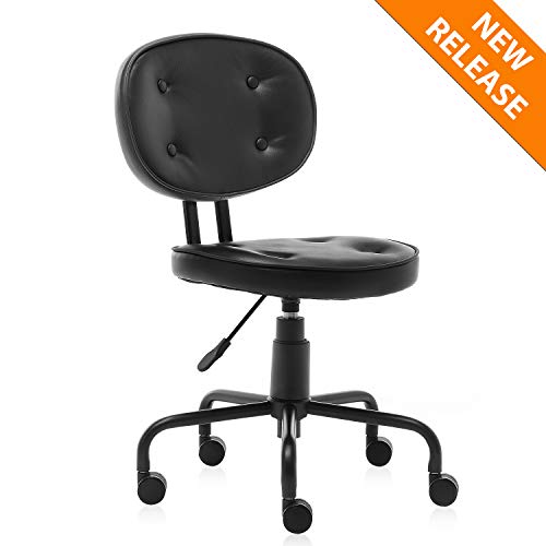 YAMASORO Leather Office Task Desk Chair Mid Back Home Children Study Chair, Adjustable Drafting Rolling Conference Chair Armless Chair Makeup Chair with Back Support Black