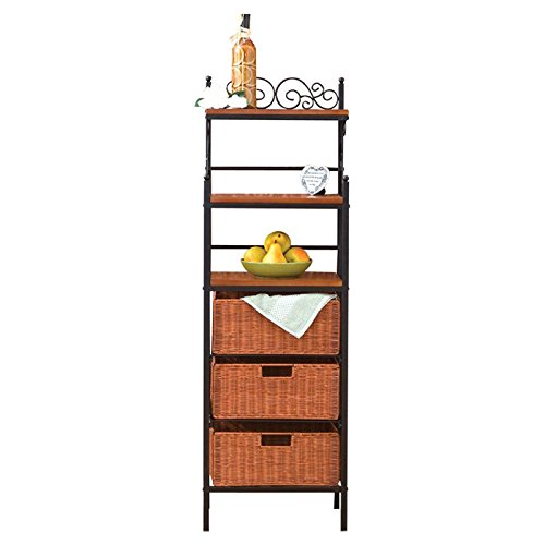 Liquid Pack Solutions Baker's Rack Made of Metal with Black Finish 3 Brown Rattan Baskets Scrolled 3 Drawer Rattan Basket Storage Bring Order to Your Space While Also Adding Elegance