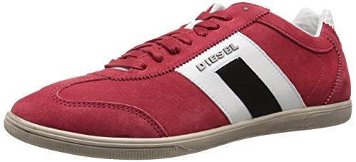 Diesel Menns Lykkelige Timer Vintagy Salong Mote Sneaker Tango Rød / Hvit