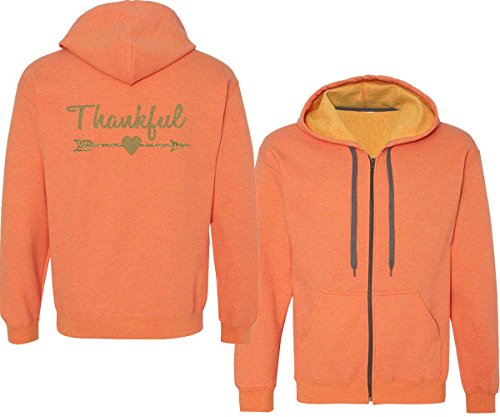 Thankful Gold Glitter Holiday Mens Womens Vintage Zip Up Hoodie Sunset -