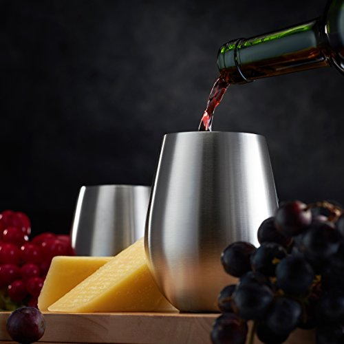 Stainless Steel Wine Glasses - Set of 4 Large & Elegant 18 Oz. Premium Grade 18/8 Stainless Steel Red & White Stemless Wine Glasses, Unbreakable, Portable Wine Glass, for Daily Outdoor Events, Picnics by FINEDINE (Image #5)